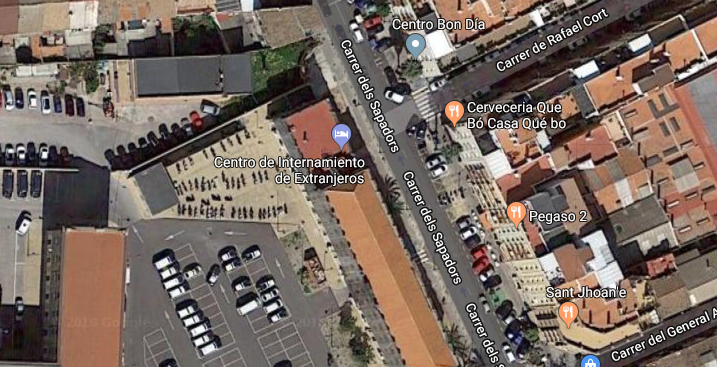Centro de Internamiento de Extranjeros-Valencia (Google Map: https://www.google.ch/maps/@39.456763,-0.3684102,190m/data=!3m1!1e3?hl=en)