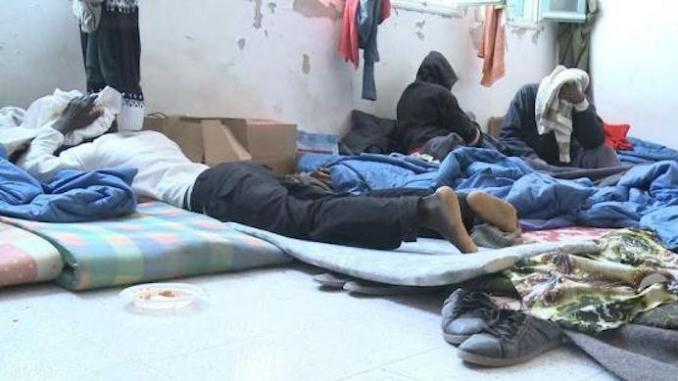 Migrants Inside a Room in the El Ouardia Immigration Detention Centre, (R. Cherif,
