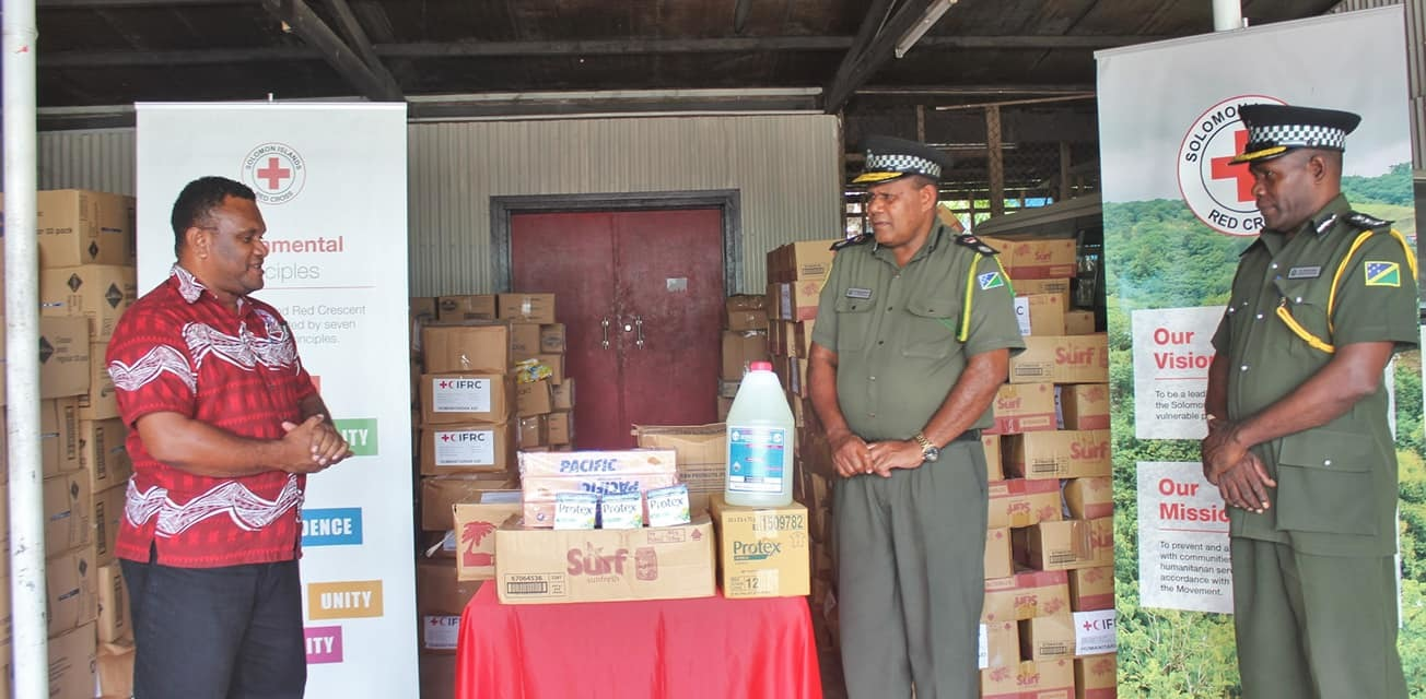 Solomon Islands Red Cross Society Handing Over Items Donated by ICRC to the Correctional Services of Solomon Islands on 13 May 2020, (Solomon Islands Red Cross Society, Facebook Post, 13 May 2020, https://www.facebook.com/solomonislandsredcrosssociety/posts/862995254179285)
