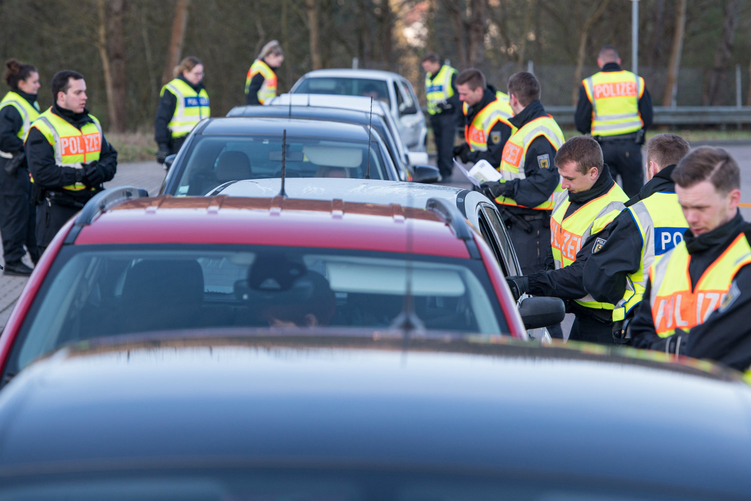 German police check drivers entering the country from France, following the reintroduction of border controls (https://www.thelocal.com/20200315/germany-to-close-its-borders)