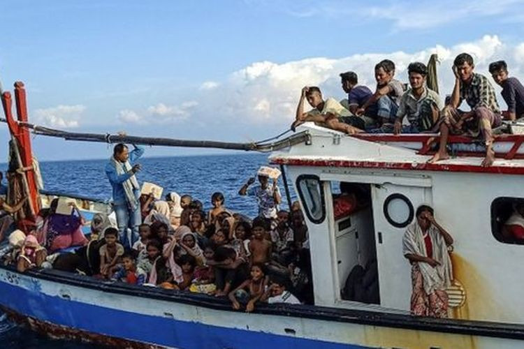 A Fishing Boat Carrying Dozens of Rohingya Refugees is Rescued in the Waters of North Aceh on 24 June 2020, (Nova Wahyudi, Antara,