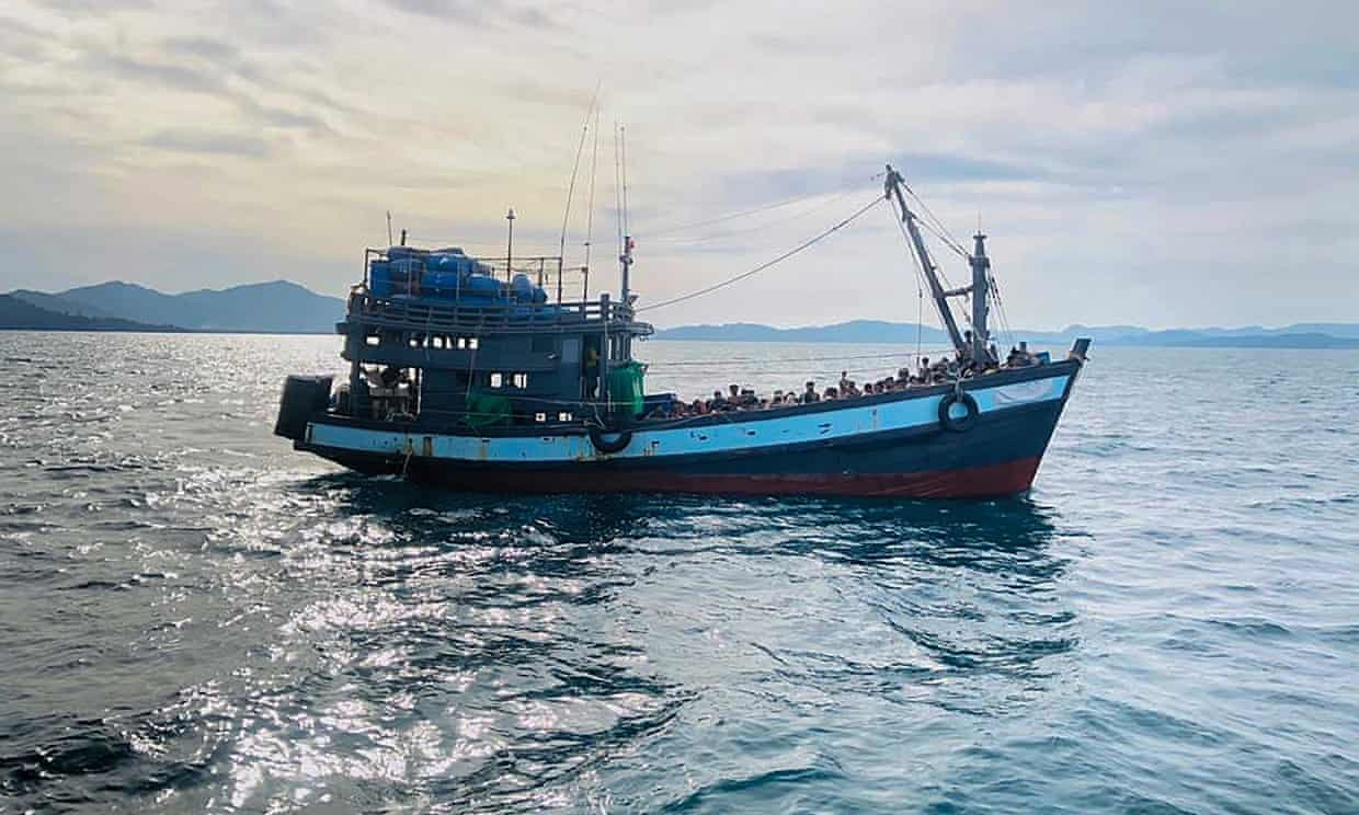 "A Boat Carrying Suspected Rohingya Refugees Off the Island of Langkawi in Malaysia, (Maritime Enforcement Agency Handout, EPA, R. Ratcliffe, ""Bangladesh Urged to Open Ports to Allow Rohingya Refugee Boats,"" The Guardian, 27 April 2020, https://www.theguardian.com/world/2020/apr/27/bangladesh-urged-to-open-ports-to-allow-in-rohingya-refugee-boats)"
