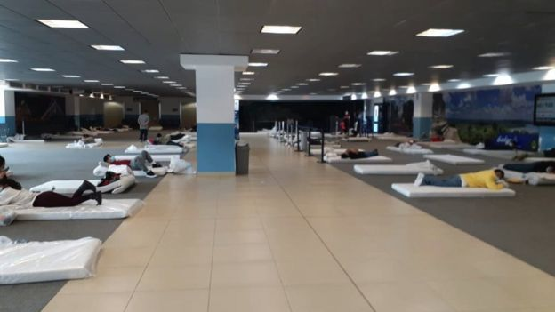 Mattresses on the Floor of the Guatemala City Airport, Placed for Returned Migrants, (PDH Guatemala,