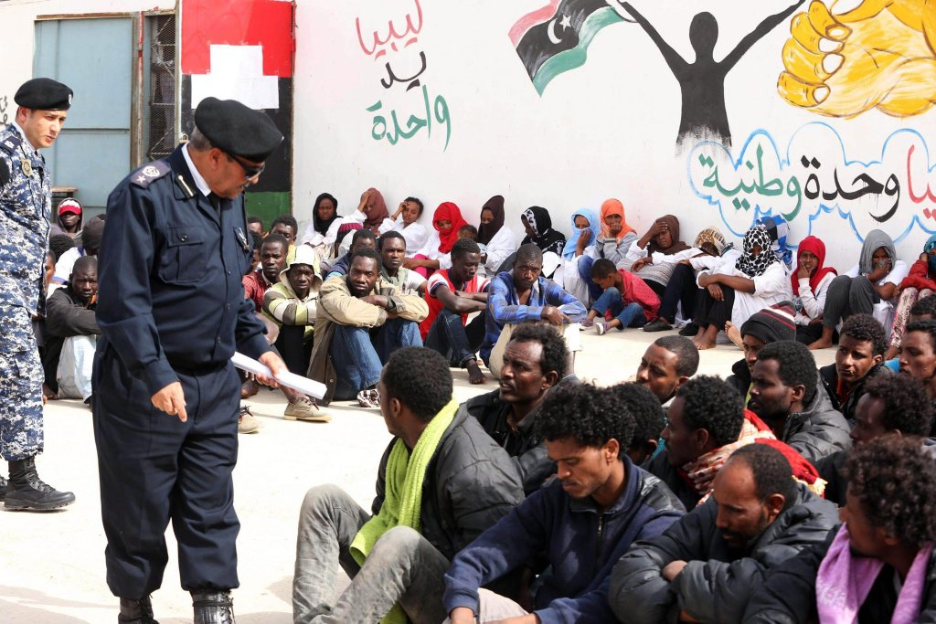 Libyan Police Forces Inspecting Some 250 Detained Migrants at the Abu Salim Detention Centre in Gasr Garabulli, (EPA,