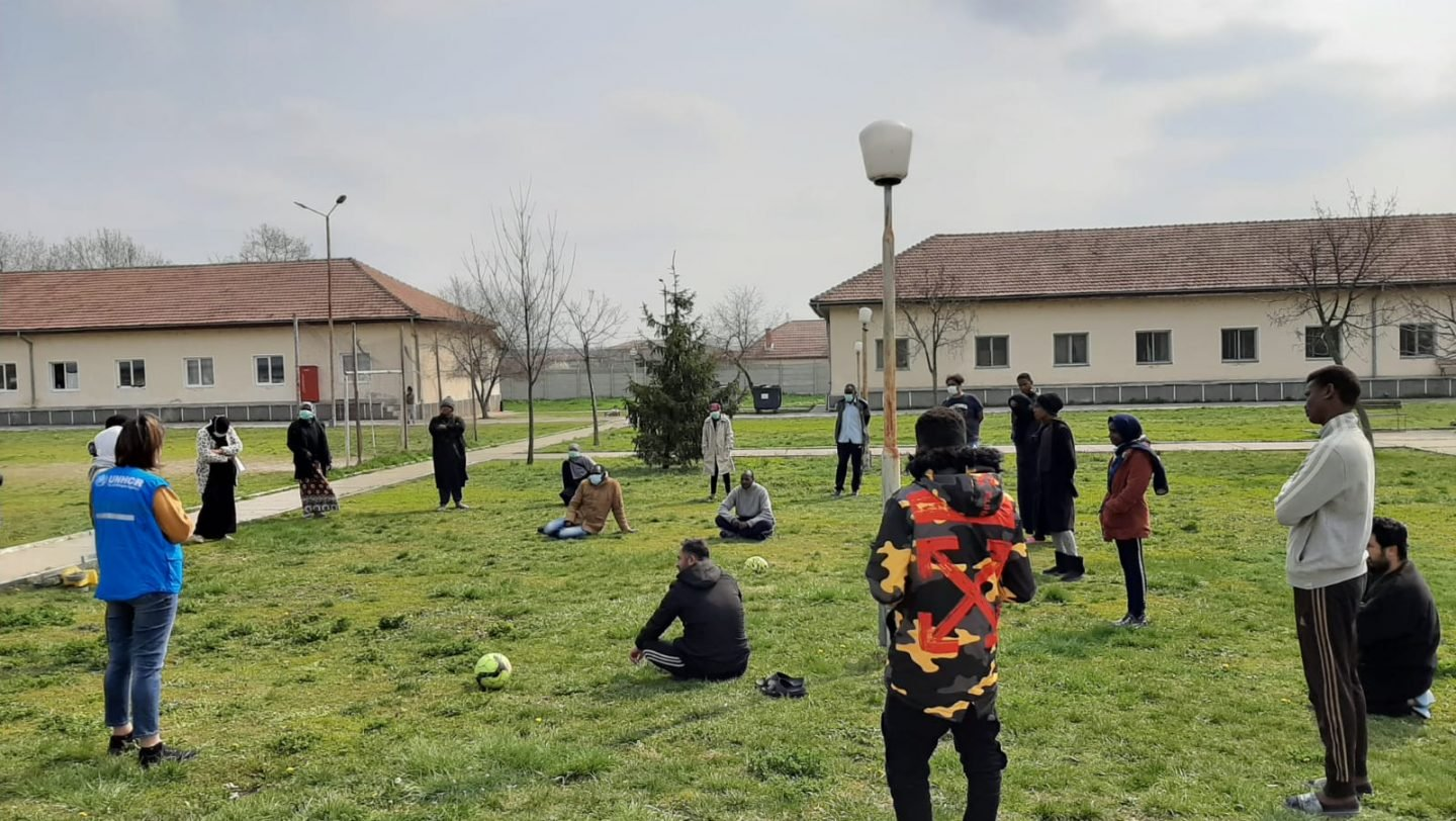 Refugees and Asylum Seekers Undertaking Activities in the Timisoara ETC Courtyard, (UNHCR,