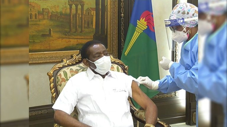 """Daily News Egypt, """"Equatorial Guinea President Receives 1st Dose of Chinese COVID-19 Vaccine,"""" 17 February 2021, https://dailynewsegypt.com/2021/02/17/equatorial-guinea-president-receives-1st-dose-of-chinese-covid-19-vaccine/"""