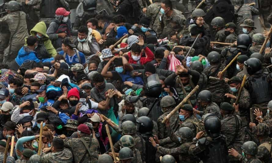Guatemalan Security Forces Clash with a Group of Honduran Migrants, (Esteban Biba, EPA,