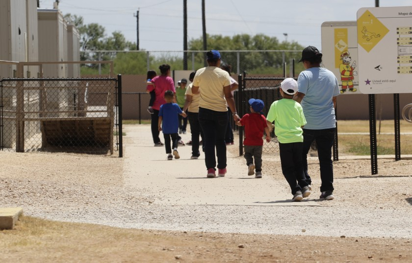 Asylum Seekers Leaving a Cafeteria at the ICE South Texas Family Residential Centre in Dilley, Texas, (Eric Gay, Associated Press,