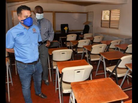 Minister Matthew Samuda is Shown the Cafeteria of the New Broughton Sunset Rehabilitation Adult Correctional Centre by Superintendent A., (Ian Allen,