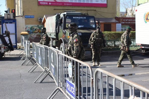 The Mongolian Military Mans a Checkpoint During a Covid-19 Outbreak Drill, on 7 May 2020, (A. Nyamdavaa,