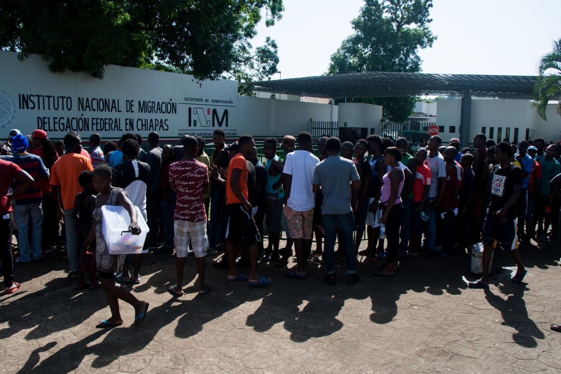 Migrants Wait in Front of the Chiapas Immigration Detention Centre March 2020