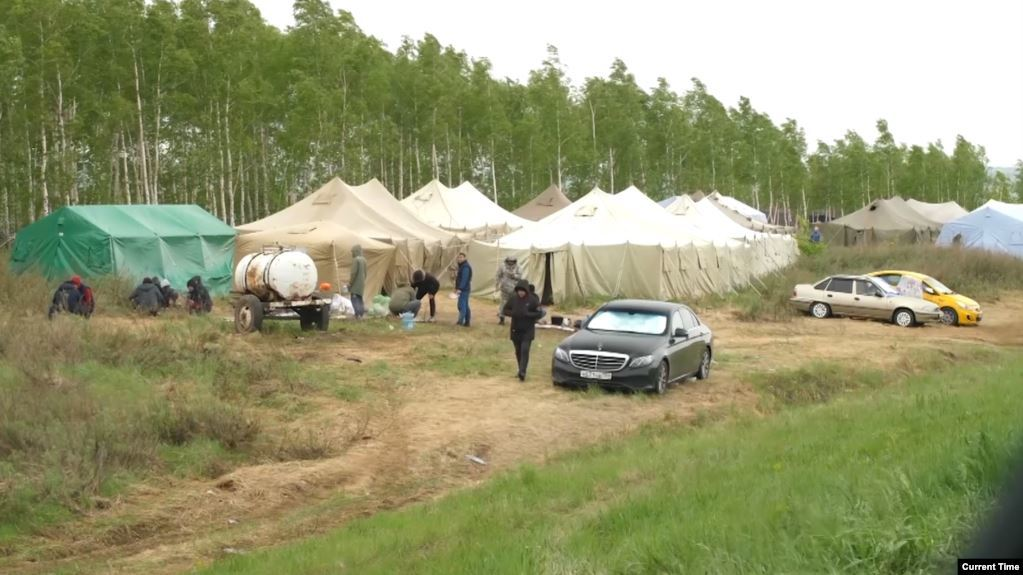 Migrant Camp in the Orenburg Region in Russia, (Current Time,