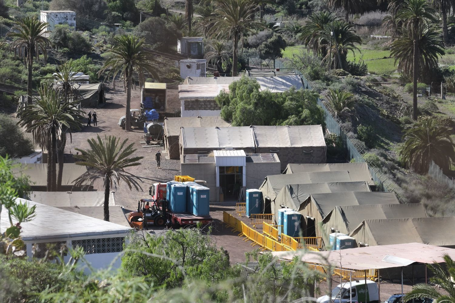 The Camp Installed in Barranco Seco, in Las Palmas de Gran Canaria, Where Part of the Migrants from the Arguineguin Port Are Expected, (Angel Medina, EFE,