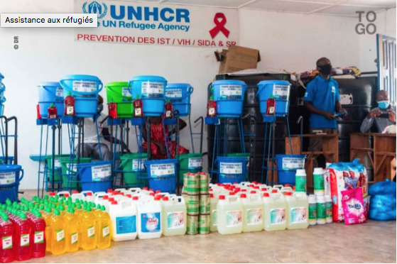 Protective Equipment Including Masks, Disinfectant Gel, Soap, and Food Given to UNHCR to Distribute, (UNHCR,