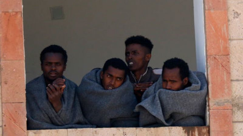 Ethiopian Migrants Expelled by Yemeni Rebels Who Forced Them to the Saudi Arabian Border, (AFP,
