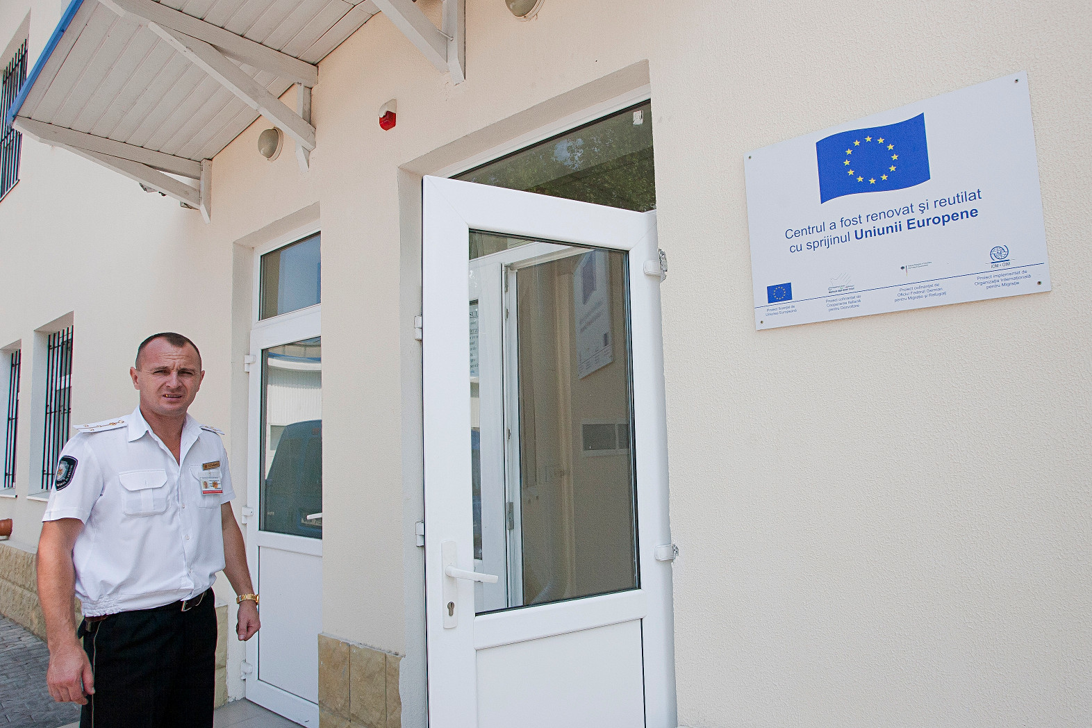 A Guard Standing in Front of the Chișinău Centre for Eastern Border Migrants, (EU/ENPI,