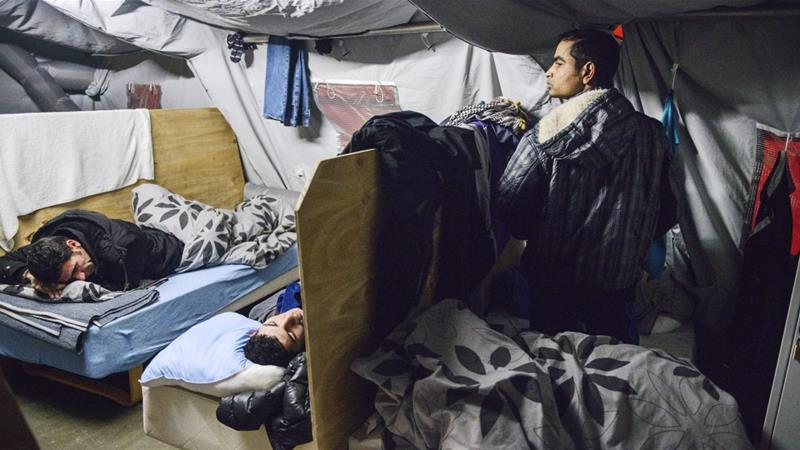 Refugees in their Beds at the Refugee Tent Camp in Thisted, Northern Jutland, Denmark in 2016, (Sara Gangsted/EPA,