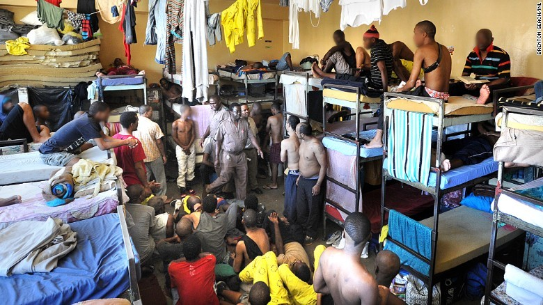 Prisoners Inside an Overcrowded Cell in Pollsmoor Prison in Cape Town, (https://edition.cnn.com/2016/02/25/africa/south-africa-jail-mandela/index.html)