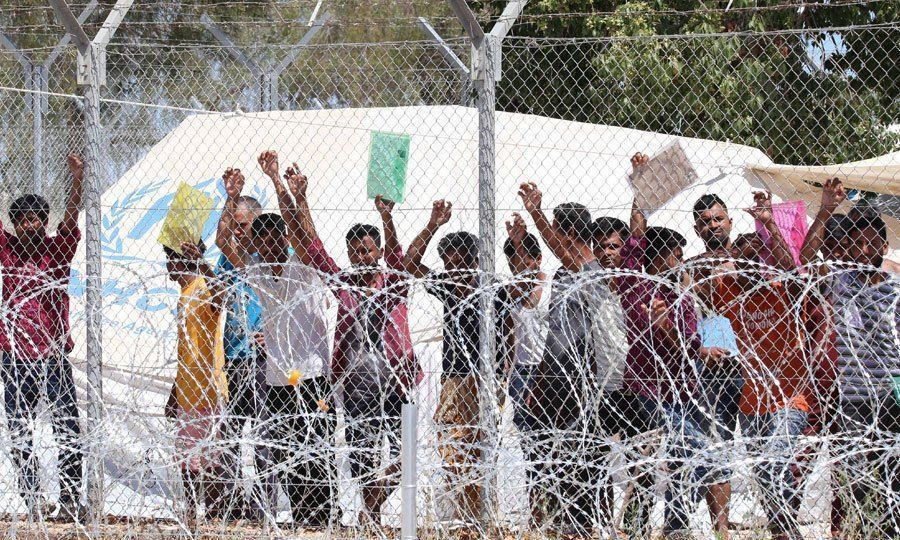 Migrants and Asylum Seekers Protesting at a Fence in the Pournara Refugee Camp in Kokkinotrimithia, (Knews,