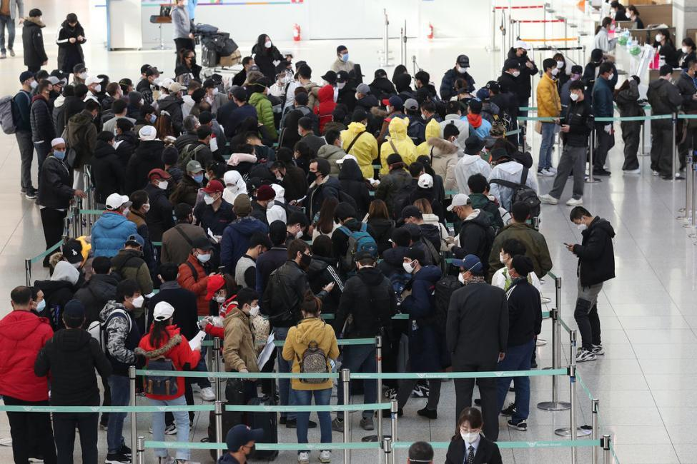 Non-Citizens Staying Irregularly in South Korea Wait to Report their Voluntary Departure at an Immigration Office at Incheon International Airport in South Korea, (Yonhap, EPA-EFE,