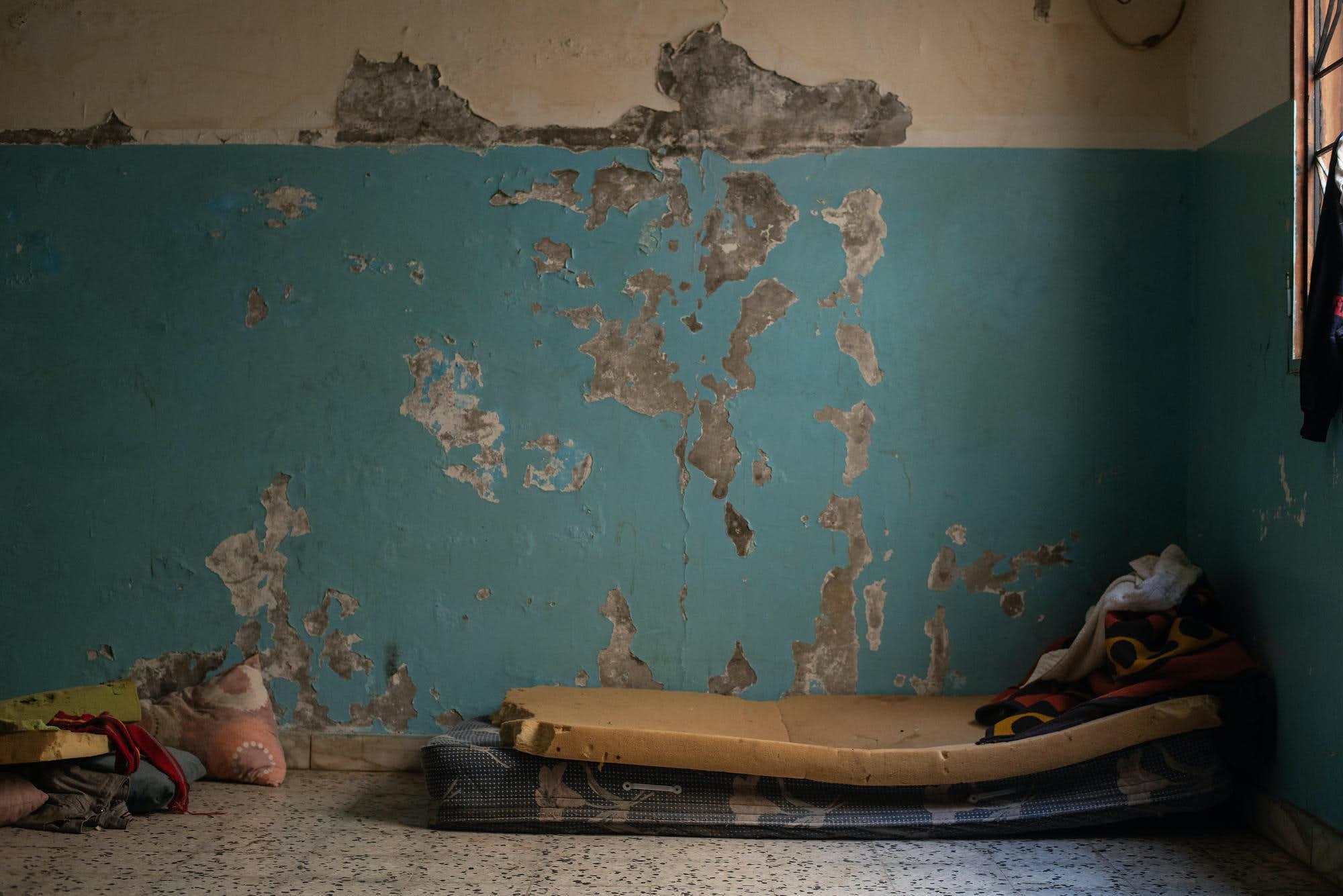 A Refugee's Bed in a Shared Room Where He Sleeps with 9 Other People in January 2020, (G. Piscitelli,